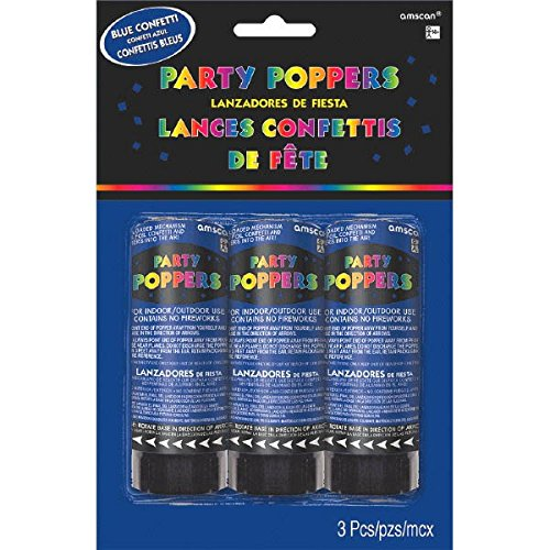 Amscan 395882.01 Confetti Poppers, Party Supplies, Blue, 4