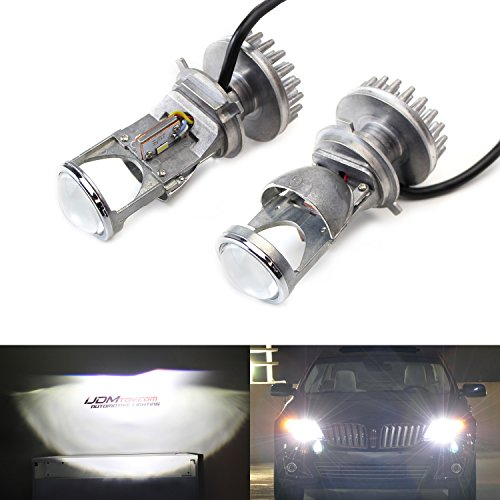 iJDMTOY Plug-N-Play H4/9003 Dual Beam Hi/Lo High Power LED Headlight Lens Bulbs, Convert H4 Halogen to LED Projector Headlamps