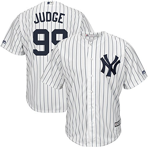Aaron Judge New York Yankees Majestic MLB Youth Boys 8-20 Jersey White Pinstripe (Size X-Large 18-20)