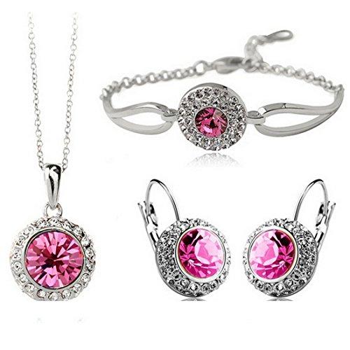 MAFMO White Platinum Plated Crystal Round Shaped Necklace Bracelet Earrings Set Women Fashion Jewelry (Pink)