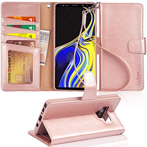 Arae Wallet Case Compatible for Samsung Galaxy Note 9 with Wrist Strap and [4-Slots] ID&Credit Cards Pocket - Rose Gold (Galaxy Note 4 Leather Wallet Case)