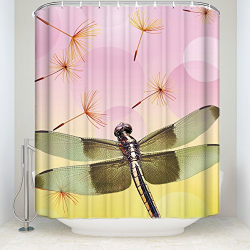 Dandelion Shower Curtain with Dream Dragonfly Artwork Quality Home Accent and Fabric Bathroom Decorations 54