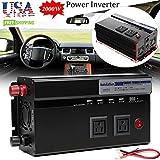 2000W Car Power Inverter DC 12V to AC 110V Charger Converter with USB Port & Outlets & Cigarette Socket Output