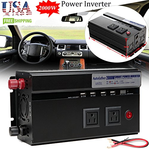 2000W Car Power Inverter DC 12V to AC 110V Charger Converter with USB Port & Outlets & Cigarette Socket Output by Autobaba