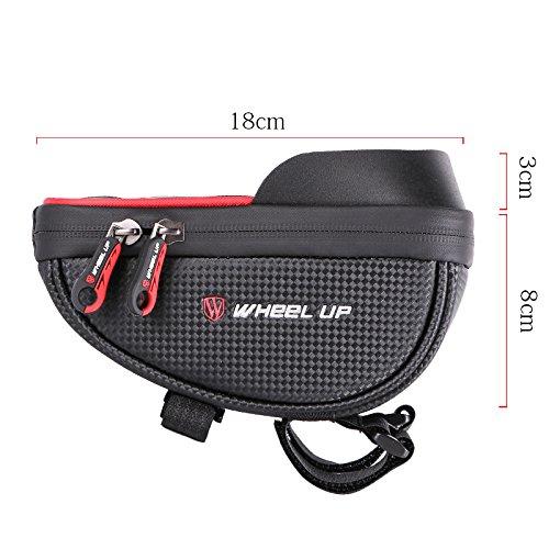 fivefire Fahrrad Rahmen Tasche Fahrrad Top Tube Paar Wasserdicht Lenker Staubbeutel für Handy unten 15,2cm (rot)