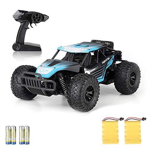 Boy Toys Remote Control Car - 20KM/H High Speed Race Car Can Drift 2.4Ghz 1/16 Off Road RC Truck with Two Rechargeable Battrreries Top Toys for Kids 8 10 12 UP Year Old(Blue) (Best 1 18 Rc Truck 2019)