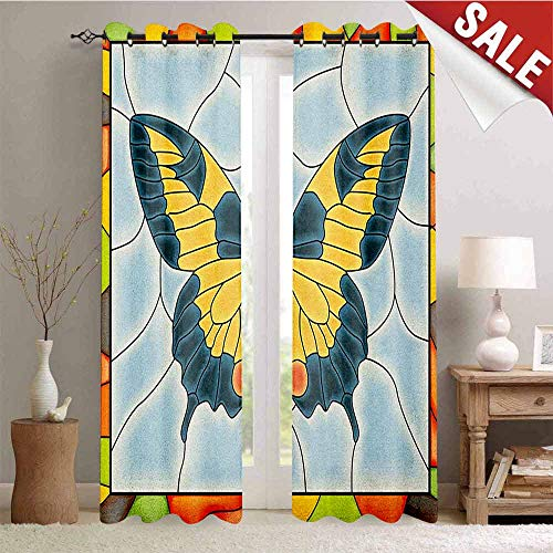 - Hengshu Butterflies Blackout Window Curtain Butterfly in Stained-Glass Window with Frame Wing Spring Garden Illustration Customized Curtains W72 x L84 Inch Multicolor