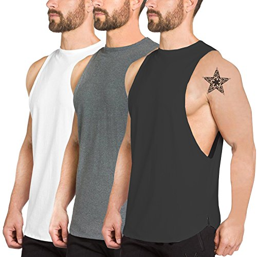 Men 3 Pack Fitness Workout Tank Tops Gym Cotton Tshirts Sleeveless,3pack,Large - Gym T-shirt Workout