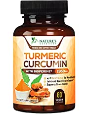 Turmeric Curcumin with BioPerine 95% Curcuminoids 1950mg with Black Pepper for Best Absorption, Made in USA, Most Powerful Joint Support, Turmeric Supplement by Natures Nutrition