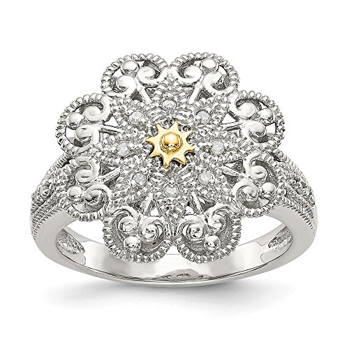 925 Sterling Silver 14k Diamond Vintage Band Ring Size 8.00 Fine Jewelry Gifts For Women For Her ()