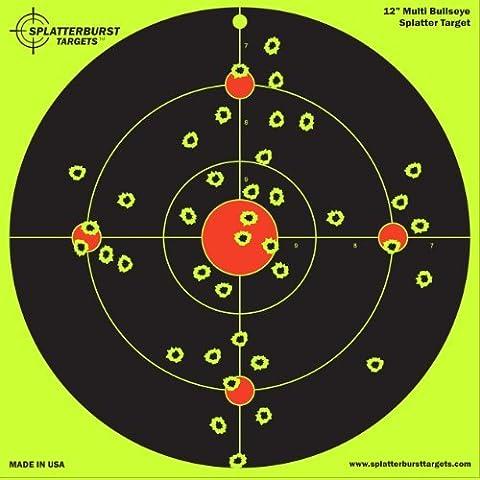 25 Pack - 12 inch Multi Bullseye - Splatterburst Shooting Targets - Gun - Rifle (Bb Gun Target)