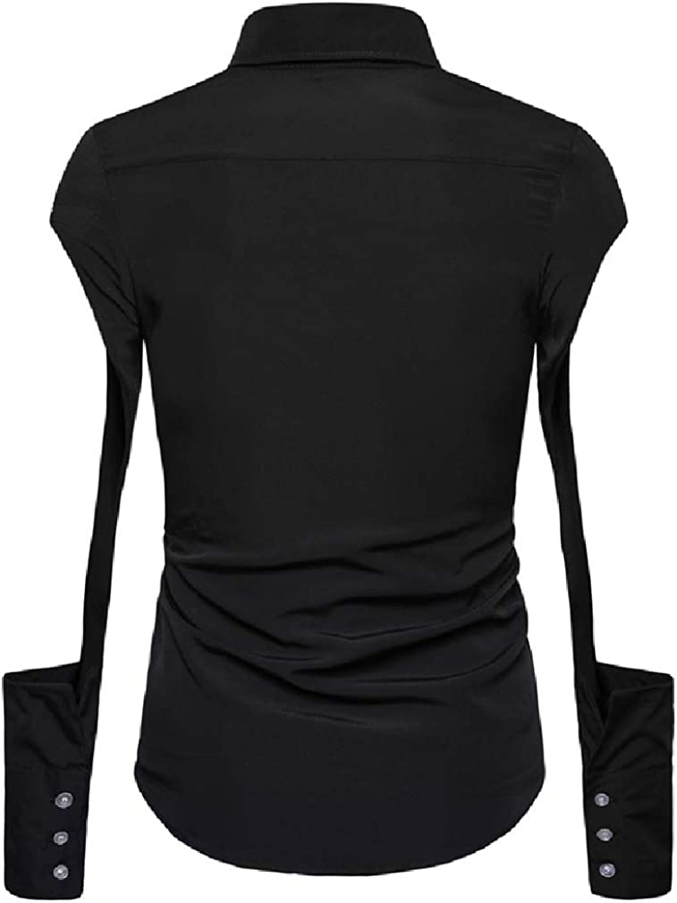 Tralounry Men Pure Color Lapel Long Sleeve Stylish Hollow Dress Shirts