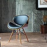 Chaise de bureau Style Eames DSW Simili cuir Noir/pieds en Bois Finition bois clair