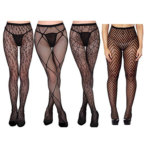 Design Fishnet (DRESHOW 4 Packs Fishnet Stockings Sexy Cross Tights Seamless Nylon Large Mesh Hollow Out Pantyhose (4 Pair D))