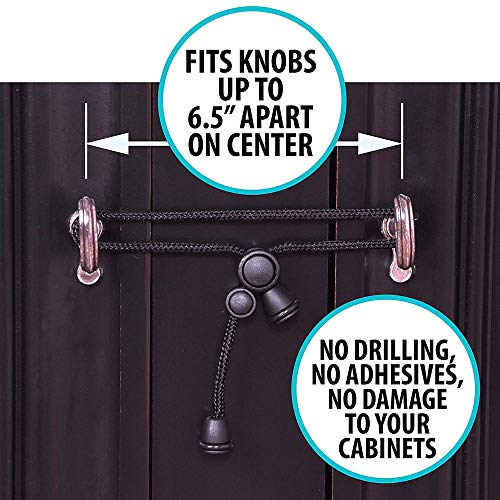 Baby Xlala Safety Cabinet Locks Knobs Child Safety Cabinet Latches Home Safety Strap Useful Maternity Pregnancy Woven Tools (Black) by Xlala Home Garden (Image #5)