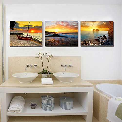 Home decor canvas wall art rising sun 3 panels canvas for Home decor uae