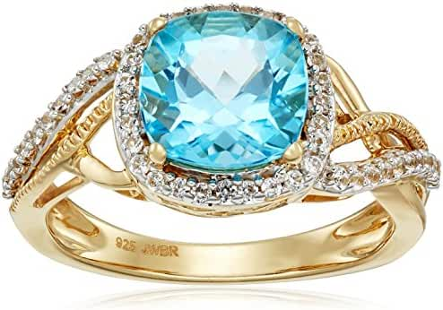 18k Yellow Plated Sterling Silver Swiss Blue Topaz Cushion Shape and Created White Sapphire Fashion Ring