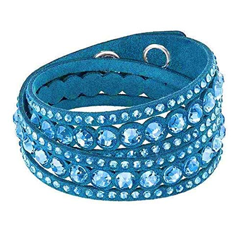 Around Bracelet Swarovski Wrap (Dyad Jewellery Double Wrap Multi Strand Crystal Slake Swarovski Elements Crystals & Adjustable Suede Strap Wrap Bracelet in Teal Peacock Blue & Color Matching Multifaceted Clear Cut Crystals)