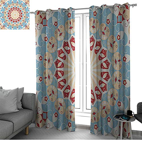 bybyhome Classic Decor Collection Microfiber Window Panel Pair Luxurious Royal Classics Stylish Summertime Exotic Arabic Style Art Print Curtains for Bedroom Light Blue Red Ivory W96 x L84 Inch
