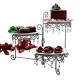 3 Tier Elegant Clear Beaded Swivel Silver Triple Dessert Cake Stand Wedding Party Server, 12 3/4 Inches Length by 7 3/4 Inches Width by 15 Inches Height CTD Store
