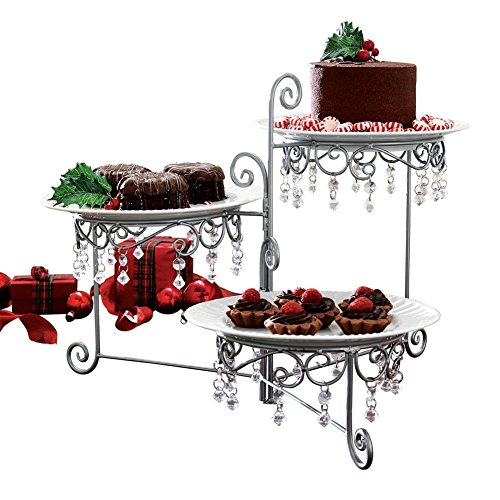 3 Tier Elegant Clear Beaded Swivel Silver Triple Dessert Cake Stand Wedding Party Server, 12 3/4 Inches Length by 7 3/4 Inches Width by 15 Inches Height CTD - Elegant Stands Cake