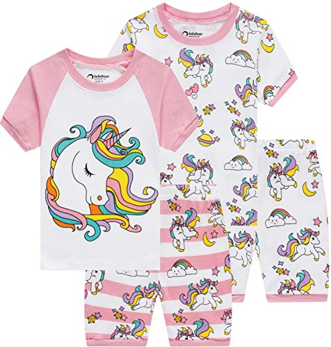 Pajamas for Girls Summer Baby Clothes Kid Children Horse PJs Short Set 4 Pieces Sleepwear - Girls Pjs