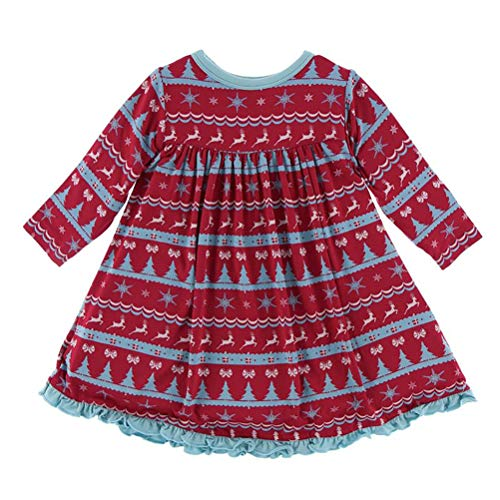 Kickee Pants Little Girls Holiday Classic Long Sleeve Swing Dress, Nordic Print, 2T