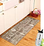 Gift Included- 55'' PVC Kitchen Cushion Floor Runner Eat Laugh Live Decorative Rug Decor + FREE Bonus Water Bottle by Home Cricket