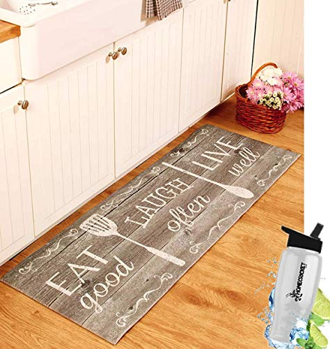 Gift Included- 55'' PVC Kitchen Cushion Floor Runner Eat Laugh Live Decorative Rug Decor + FREE Bonus Water Bottle by Home Cricket by HomeCricket