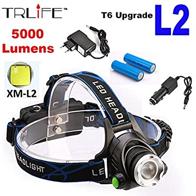 Led T6 Headlight Xm L Charger Head 18650 Lamp Light Battery Zoomable Headlamp Cree 6000lm 2x Torch 5000lm Lot Flashlight