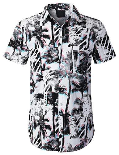 (URBANCREWS Mens Hipster Hip Hop Palm Tree Box Short Sleeve Shirt White, S)