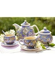 Handmade Porcelain Hand Painted Exclusive 6 Piece Tea Set Bird On Branch 33 8oz 13 5oz 6 2oz Ella Ceramica By The St Elisabeth Convent