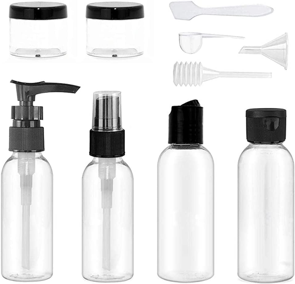 Travel Bottles Set, Hnmedia 10 PCS Clear Travel Bottles with