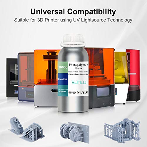 3D Printer Resin, SUNLU 3D Rapid Resin LCD UV-Curing Resin 405nm Standard Photopolymer Resin for LCD 3D Printing, Excellent Fluidity, 1000g Grey