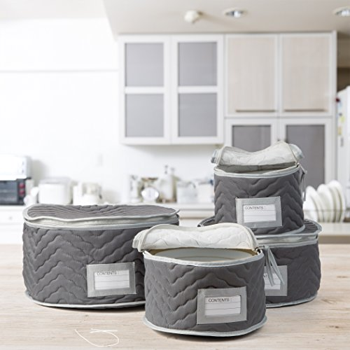 Richards Homewares Micro Fiber Deluxe Plate Case, Set of 4-Grey (Dirt Separators)