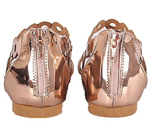 Bamboo Womens Strappy Rhinestones Thong Ankle Strap Sandals Rose Gold - 40s QoTCII4J