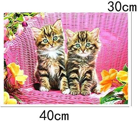 Kit de pintura de diamante 5D con dibujo de dos gatos peque/ños en silla de mimbre rosa DIY taladro completo bordado pintura punto de cruz pintura para decoraci/ón de pared del hogar