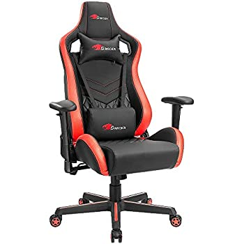 Homall Gaming Chair Premium PU Leather Bucket Seat Computer Swivel Lumbar Support Executive Office Chair (Black/red)