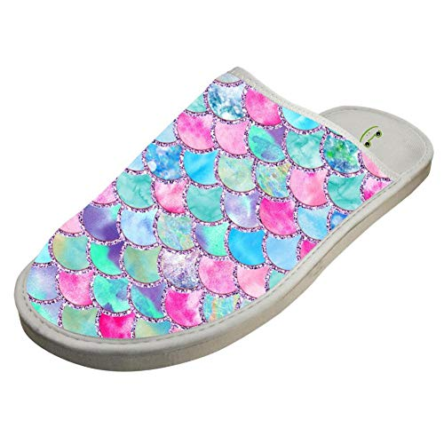 Bedroom Men House Shoes Women White Indoor Warm Mermaid Slippers Scales BVVST Glitter For Fgpdw4gq