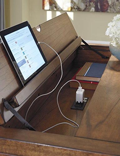 Writing Desk Power Cord Included Made of Veneers Wood and Manmade Wood Hand Finished 1 Fixed Shelf Oil-rubbed Bronze-tone Hardware by eCom Fortune (Image #2)