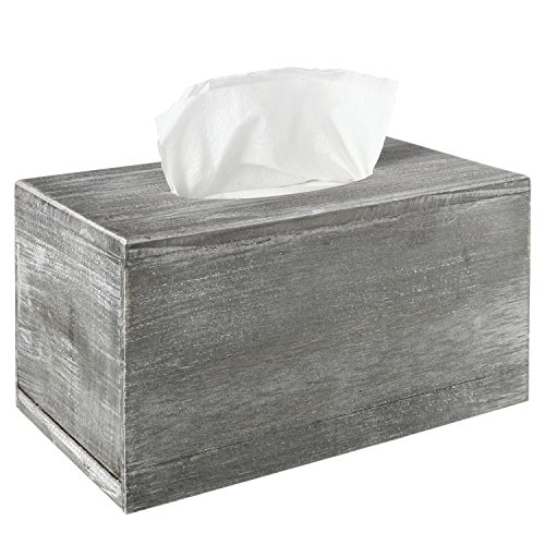 MyGift Distressed Gray Wood Facial Tissue Box Holder Cover, Napkin (Country Tissue Dispenser)