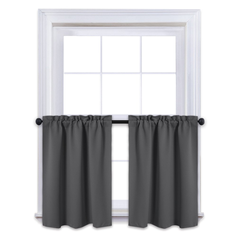 NICETOWN Kitchen Blackout Window Treatment Valances - Thermal Insulated Home Decor Blackout Tier Valance Curtains for Cafe Store (29W by 24L Inches, Grey, 1 Pair)