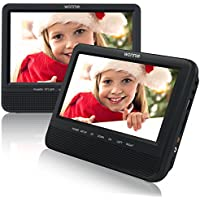 7.5 Dual Screen DVD Player for Car Headrest Portable DVD player with Games for Kids, SD/ USB Slot (Black)