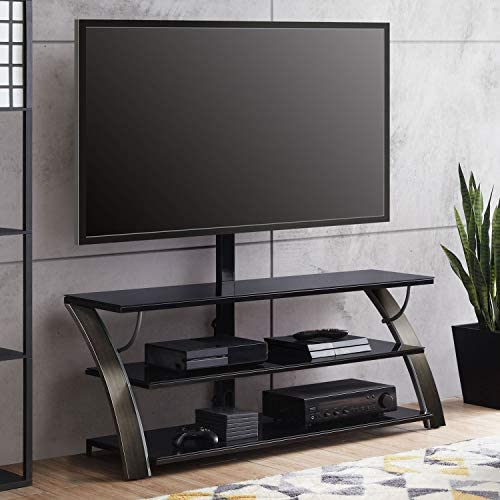 """Whalen Payton Brown Charcoal 3-in-1 Flat Panel TV Stand for TVs as much as 65"""" (Charcoal)"""