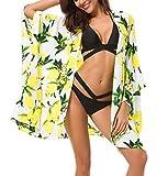Urban CoCo Women's Floral Swimsuit Cover up Kimono Cardigan Beachwear(XL, Lemon Yellow)