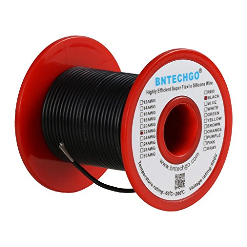 BNTECHGO 22 Gauge Silicone Wire Spool Black 50 feet Ultra Flexible High Temp 200 deg C 600V 22AWG Silicone Rubber Wire 60 Strands of Tinned Copper Wire Stranded Wire for Model Battery Low Impedance