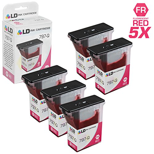 LD Compatible Ink Cartridge Replacement for Pitney Bowes 797-Q (Fluorescent Red, 5-Pack)