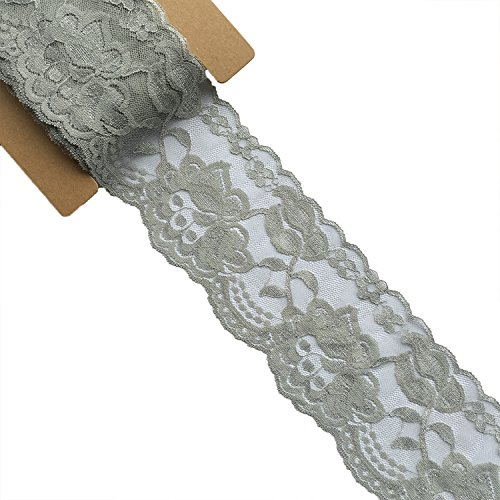 Gray Trim - Lace Realm 3.15Inches Wide×10 Yards Stretch Floral Pattern Lace Ribbon Trim Lace for Headbands Garters & Crafts (Grey)
