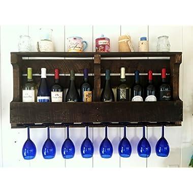 Great Lakes Reclaimed Wall Mounted, Wine Rack Espresso/Dark Walnut, Rustic, Primitive