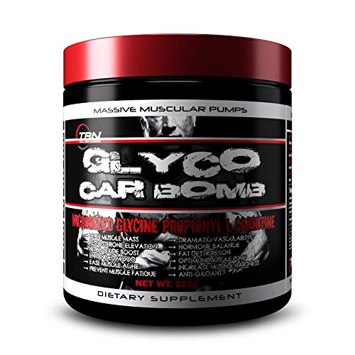 (TBN Labs Glyco Car Bomb is Micronized Glycine propionyl-L-carnitine (GPLC), a propionyl ester of carnitine that includes an additional glycine component. Study shows a significant increase in resting levels of blood nitrate/nitrite and lower levels of malondialdehyde after use of Glyco Car BOMB. It also can Increase free radical production associated with impaired Nitric Oxide bioavailability )